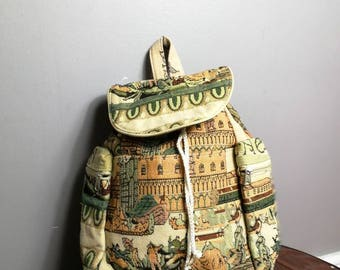 Tapestry backpack / faux tapestry fabric backpack bag / 90s novelty backpack / retro rucksack handbag / vintage ye olde tapestry bag