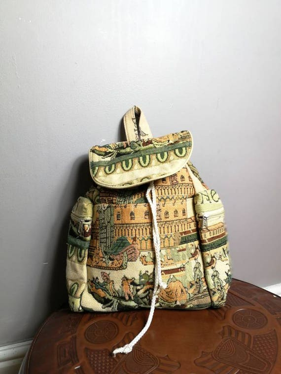 Tapestry backpack / faux tapestry fabric backpack bag / 90s novelty backpack / retro rucksack handbag / vintage ye olde tapestry bag