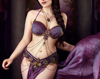 Custom bellydance tribal fusion costume temple dance showgirl gothic bellydance fantasy mystical templedance