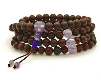 Rosewood & Amethyst Mala, Tibetan style mala, 108 bead mala