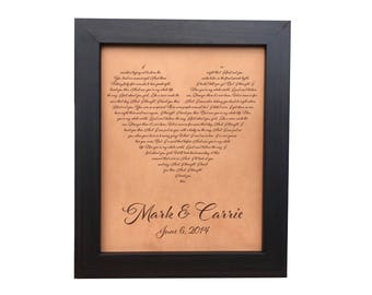 Wall art, first dance lyrics, heart lyrics, wedding anniversary gift for her, leather anniversary, leather heart, engraved wedding song