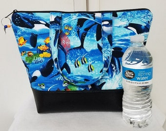 Lunch Bag with Orca Whales, Vinyl Bottom, Insulated, Womens Lunch Bag with Orcas, Orca Bag, Nylon Lining with Pocket, Washable, Reusable.