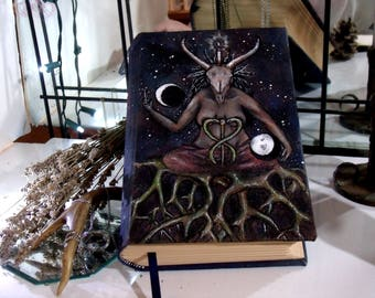 Baphomet 500 Page Blank Book of Shadows, Hand Painted 6x9 Journal