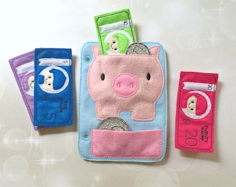Quiet Book Page - Busy Book - Pre School Learning - Piggy Bank Page- Toddler Learning - Kids Activity Pages - Felt Toys - Learning Toys