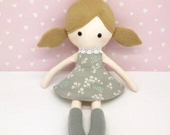 Rag doll - plush doll - Stuffed toy - Cloth doll - Soft toy - Cloth doll - Fabric Doll - Softie - Plushie - with brown tails