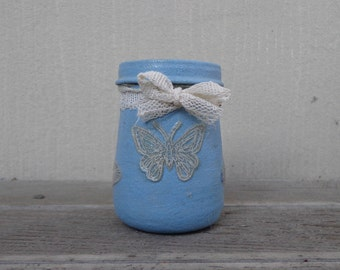 Baby Blue Frosted Lace Stash Jar One of a Kind Handpainted Upcycled Glass Nug Jug