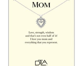 DTLA Mom Necklace in Sterling Silver with Loving Mother Message Card Gift - Mom Heart With CZ