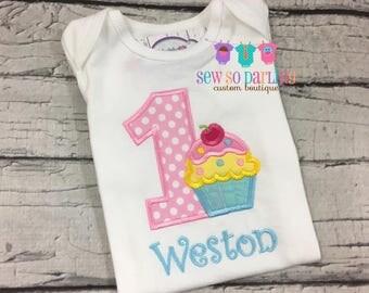 Cupcake Birthday Shirt - 1st Birthday Girl Outfit - Baby Girl Cupcake Birthday Outfit -  1st Birthday Outfit - Girl first birthday shirt