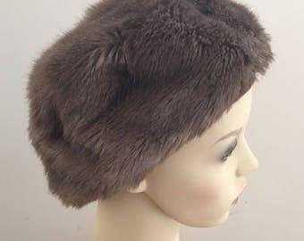 JACOLL Vintage 1960s Ladies Brown Faux Fur Cap Hat - Size Small