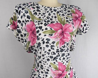 1980's Floral & Animal Print Rayon Dress with Hourglass Silhouette