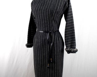 Maggie Stover Gray Wool Striped Dress