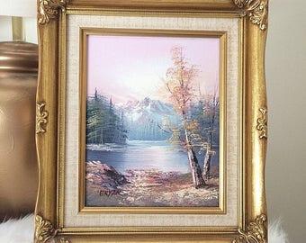 Pink Lake Scene Original Oil Painting