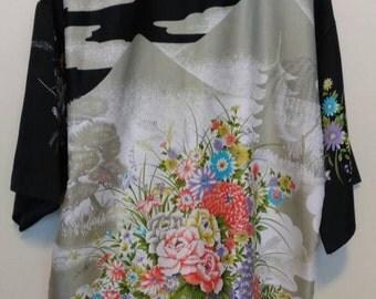 Vintage Japanese Kimono, Hippie Boho Lingerie Robe, Night Gown