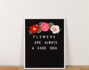 letter board flowers, letter board decor, floral garland, wool felt flowers, felt letter board flowers