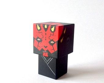 """Figurine cubique en bois décorative """"Dark Maul"""" taille M ou L"""