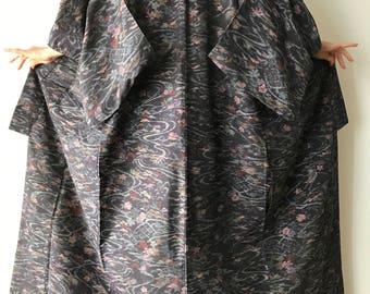 """Lily Pond Kimono Robe - Vintage Japanese Robe - Authentic Kimono - Woman's Kimono - Boho Kimono - Floral Kimono - Size L Kimono - """"Monet"""""""