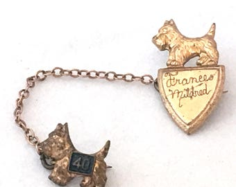 Scotty Dog Pin, Class Varsity Pins Connected Chain Guard, Scottish Terrier Lapel Pins, 1940 Frances Mildred Name Varsity Pin, Mascot Pin
