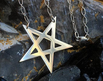ARCANA • S • Inverted Star - Hand Cut Sterling Silver Star Pentagram Necklace with Sterling Chain