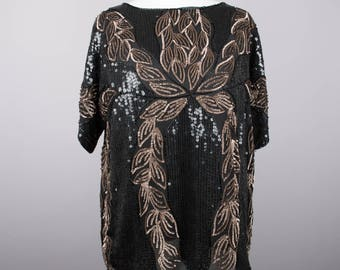 1980s black and bronze vintage sequin top by Frank Usher