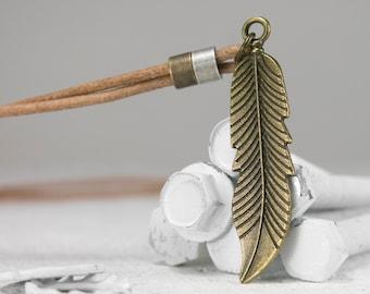 Men Necklace - Men feather Necklace - Men Brass Necklace - Men Leather Necklace - Men Jewelry - Men Gift - Boyfriend Gift - Husband Gift
