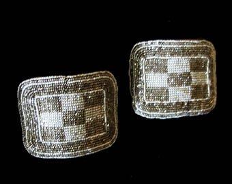Art Deco French cut steel bead shoe clips circa 1910