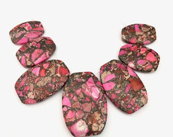 1 jasper pink impression strand of 7  stone beads top drilled,30mm to 50mm #PP226