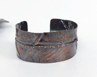 Rocker cuff bracelet 3, Rustic cuff, modern, hammered cuff bracelet, fold form copper cuff, handmade artisan, Twisted Designs by Beth