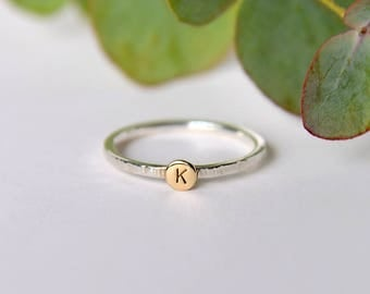 Personalized ring, gold initial ring, gold and silver stackable rings