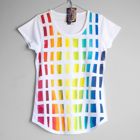 BEHIND THE RAINBOW. Rainbow t-shirt. Hand painted t-shirt. Bright t shirt