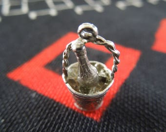 Sterling Champagne In Bucket Charm Vintage Bottle Of Wine/Champagne In Ice Bucket Charm Silver Charm for Bracelet from Charmhuntress 04709