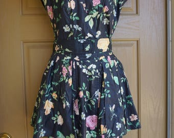 Karen Alexander 80s 90s floral dress small size 6 1980s 1990s peplum skirt