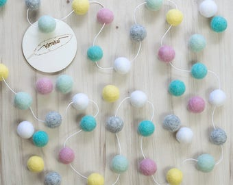 Spring Pastel Felt Ball Garland, Girls Room Bunting, Pink Mint Nursery, Pom Pom Garland, Baby Shower Gift, Photo Prop, Pink Girl Decor