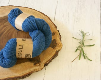 Merino Wool 100g skein DK, double knit, Indigo and dandelion dyed, natural dyes, plant dyes, blue, yarn