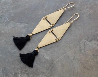 Silk Tassel Earrings - Boho Earrings - Orange Tassel Earrings - Triangle Earrings - Geometric Earrings - Black Tassel Earrings - Tassle