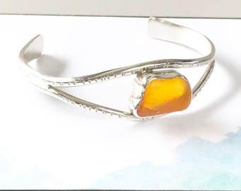 Sea Glass Cuff Bracelet // Women's Gift // Orange Sea Glass Jewelry // Sterling Silver Cuff Bracelet // Hand Forged Bracelet