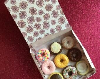 Miniature Box of Nine Donuts (playscale 1:6 scale diorama play doll mini) Dessert Doughnuts