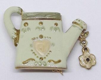 Vintage Watering Can Brooch, Garden Tools Brooch, Garden Pin, Watering Can Pin