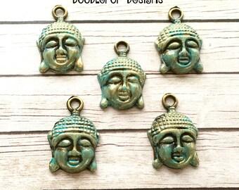 5 Buddha head charms - Turquoise buddha charms with gold - Patina charms - Boho charms - Travel theme - Jewellery making - UK seller - UK