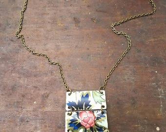 Antique vintage tin metal necklace with blue flowers floral design