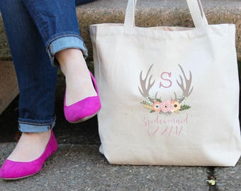 Antler Bridesmaid Wedding Personalized Tote Bag // Bridesmaid // Maid of Honor // Flower Girl Antler Tote Bag // Wedding Party Gift Bag