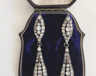 Georgian Long Paste Marie Antoinette Earrings