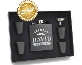 Personalized Flask, Groomsmen Gift Box, Groomsmen Flask Set, Gifts for Groomsmen, Monogram Flask, Custom Flask Set, Groomsman Flask