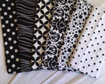 Black & white cotton remnant bundle; six pieces
