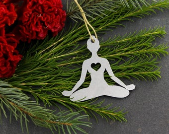 Love Yoga Lotus Pose Christmas Ornament Rustic Holiday Gift for Her Fall Winter Decor Yogi Stocking Stuffer Personalized Yogi Custom Engrave