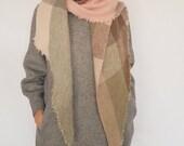 Shawl DN002 / Handmade Weaving on the Loom / Scarf / Warm Shawl / 100% Natural Wool / Gift Idea