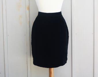 Gunne Sax Black Velvet Mini Skirt - Jessica McClintock Velour Skirt - High Waist Velveteen Skirt - Goth Skirt - 80s Skirt - 90s Grunge Skirt