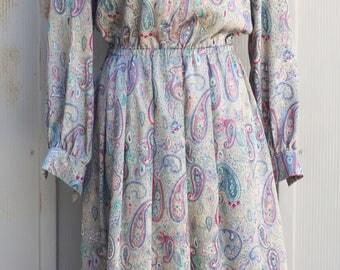 Silky Silver Dress - Long Sleeve Paisley Dress - Vintage Mod Dress - Psychedelic Dress - Bohemian Dress - 60s Dress - Groovy Dress - 1960s