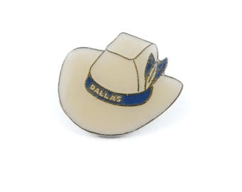 Vintage Dallas Cowboy Hat Pin, Enamel, Gold Tone, R76