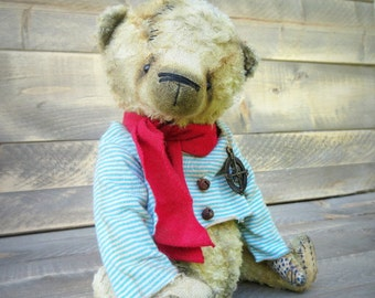 Antique style Teddy Bear-Artist Teddy Bear-Handcrafted Teddy Bear-Primitive Teddy Bear