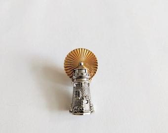 Vintage 80s Avon lighthouse pin nautical silver gold tone lapel tie tack 1988